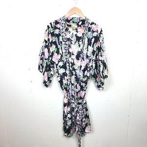 Floreat Long Black Floral Kimono Tie Waist OS